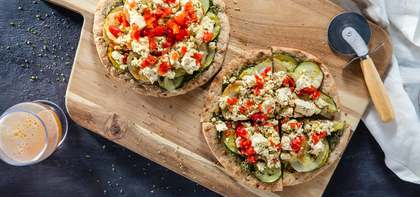 Pesto Potato Flatbreads with Zucchini & Tofu Ricotta