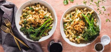 Cavatappi Carbonara with Roasted Broccolini & Coconut Bacon