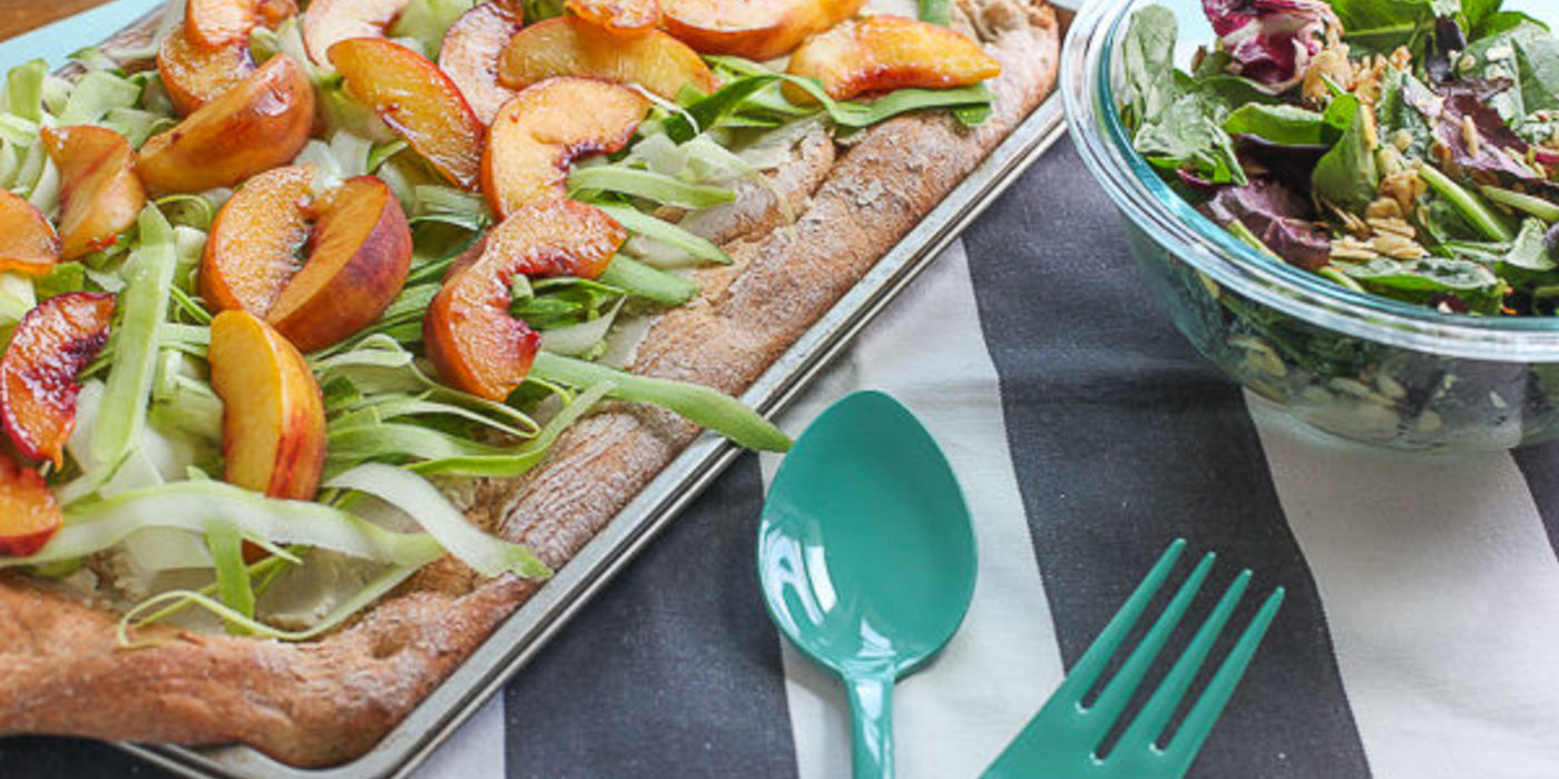 Grilled Peach and Zucchini Ribbon Flatbread with Miso-Dijon Salad