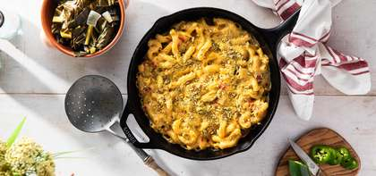 Southwest Cheesy Mac with Pepita Parmesan & Collard Greens