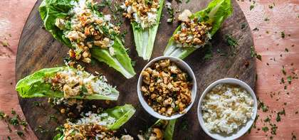 Taiwanese Tofu Lettuce Cups with Dates & Gingered Jasmine Rice