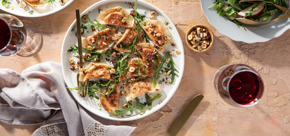 Crispy Carrot Ravioli with Hazelnut Sesame Butter & Apple Arugula Salad
