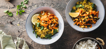 Mung Bean Kitchari with Toasted Cashews & Curried Carrot Salad