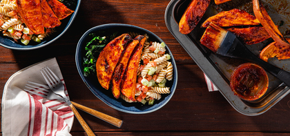 BBQ Glazed Sweet Potatoes with Gingered Kale & Macaroni Salad
