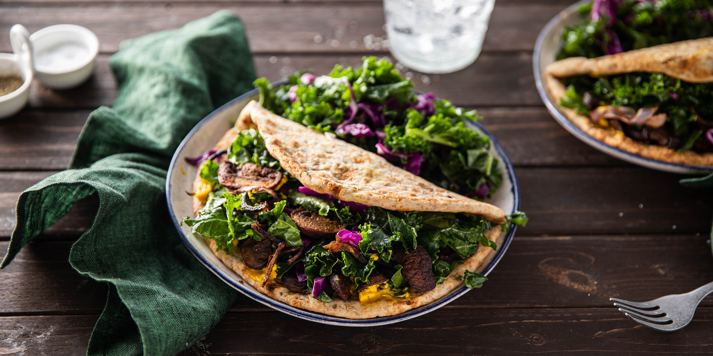 Mushroom Shawarma with Turmeric Aioli & Herb Kale Salad