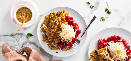 Mustard Glazed Tempeh with Smashed Beets & Sauerkraut