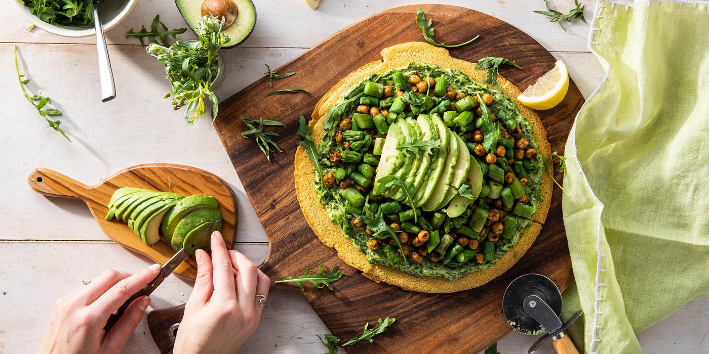 Green Goddess Socca Pizza with Asparagus & Tarragon Avocado Mayo