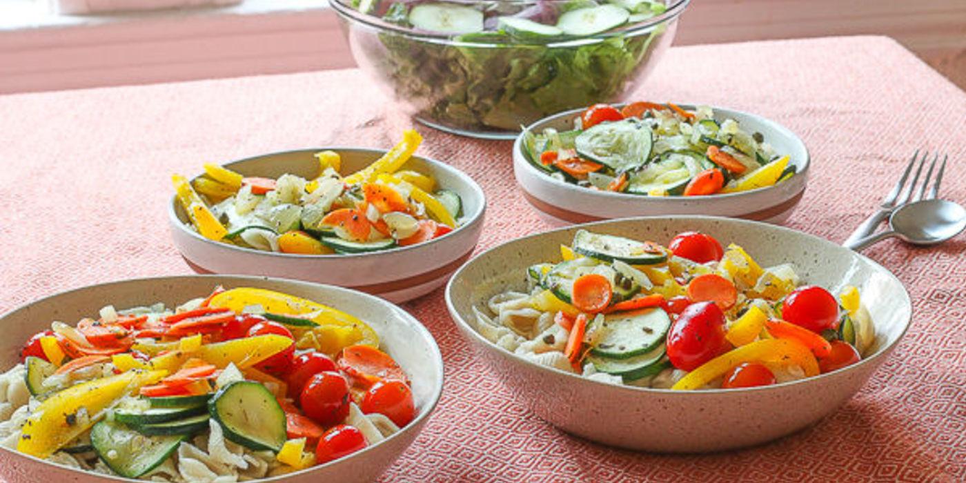 Pasta Primavera, Romaine Salad, Focaccia