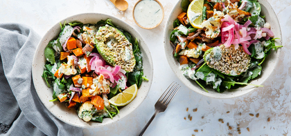 Harvest Bowls with Seeded Avocado & Tarragon Ranch Dressing