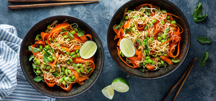 Spicy Red Curry Coconut Noodles with Carrot & Edamame