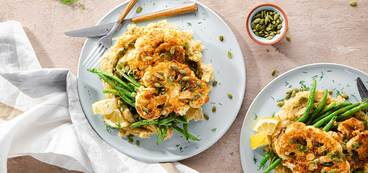 368 173 vegan tahini cauliflower steaks with red lentil skordalia   charred green beans horizontal