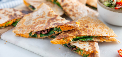 Red Pepper Hummus Quesadillas with Quinoa Peppadew Tabbouleh