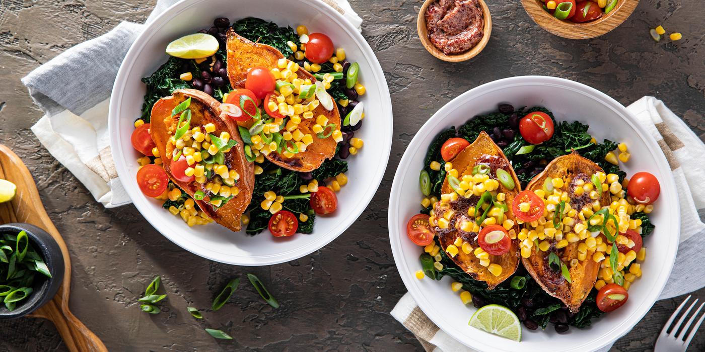Black Bean Burrito Bowls with Raspberry Chipotle Sweet Potatoes & Corn Salsa
