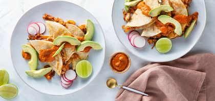 Jackfruit Tacos with Caramelized Onions & Salsa Roja