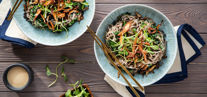 Creamy Tahini Noodles with Black Lentils & Crispy Shiitakes