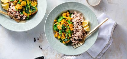 Coconut Spinach Tempeh with Jeera Rice & Lemon Yogurt