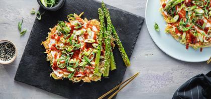 Okonomiyaki with BBQ Sauce & Sesame Asparagus