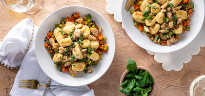 Spring Vegetable Gnocchi with White Beans & Lemon Basil Butter