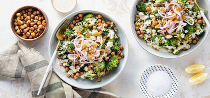 Chickpea Quinoa Bowls with Tarator Sauce & Pickled Shallots