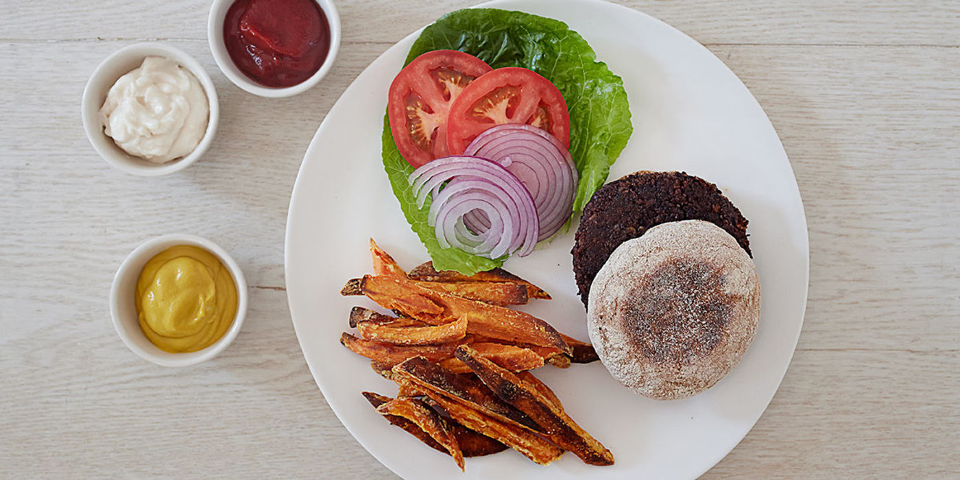 Black Bean Burgers with Spiced Sweet Potato Fries