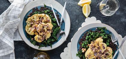 Greek Style Cauliflower Steaks with Beluga Lentils & Olive Walnut Butter