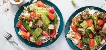 368 173 vegan grape leaf mezze bowls with za atar yogurt   fresh dill horizontal