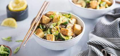 Miso Soba Noodles with Lemon Pepper Tofu & Zucchini