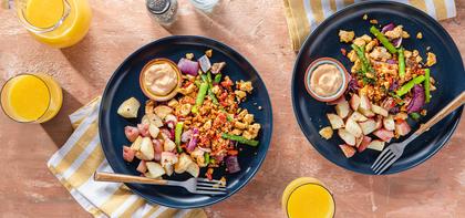 Asparagus Tofu Scramble with Patatas Bravas & Paprika Aioli