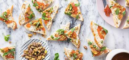 Strawberry & Cream Cheese Toasts with Fresh Mint & Pistachios