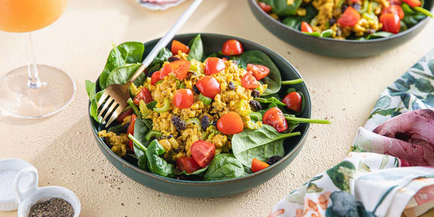 Curried Chickpea Salads with Raisins & Tomatoes