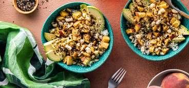 368 173 vegan fresh peach poke bowls with macadamia nuts   nori horizontal