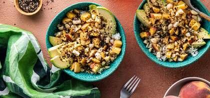 Fresh Peach Poke Bowls with Macadamia Nuts & Nori