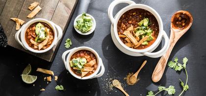 Tortilla Soup with Smoky Ancho Chile & Avocado