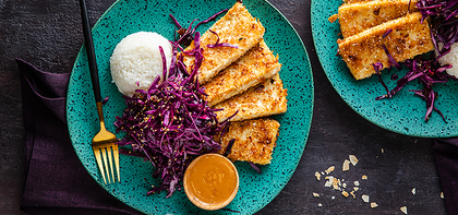 Coconut Tofu with Crunchy Date Slaw & Peanut Sauce