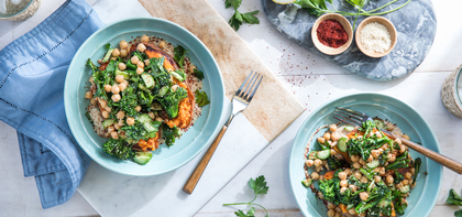 Stuffed Sweet Potatoes with Cucumber Chickpea Salad & Miso Tahini