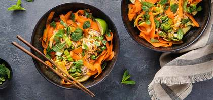 Spicy Red Curry Coconut Noodles with Bok Choy & Carrots