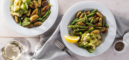 Gnocchi Al Pesto with Charred Green Beans & Lemon Zucchini