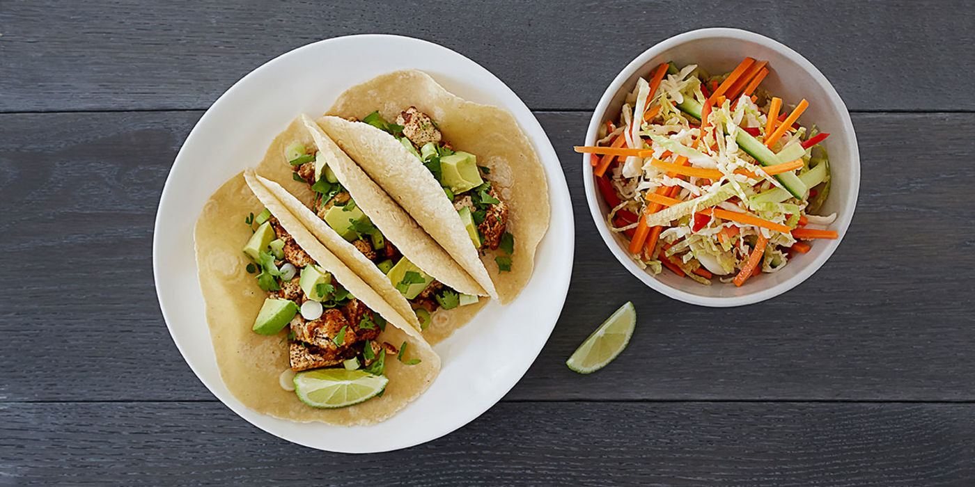 Tofu Chorizo Tacos with Mexican Slaw