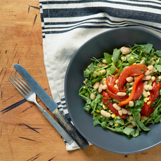Arugula and Corn Salad with Roasted Red Peppers and White Bean