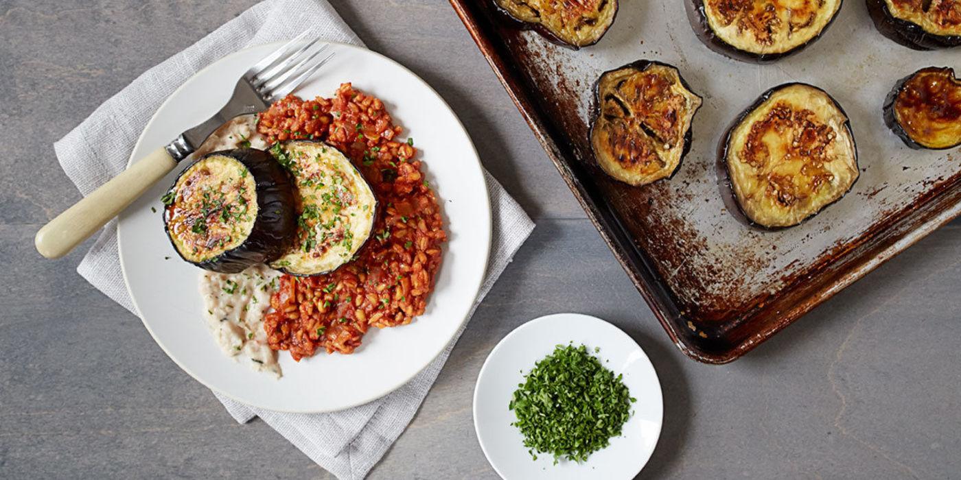 Eggplant Steaks with Mashed Cannellini and Farro Marinara