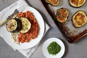 Eggplant Steaks with Mashed Cannellini and Farro Marinara