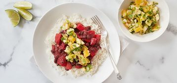 358 168 d476 3c8a vegan brazilian black beans and beets with coconut rice and tropical salsa hero