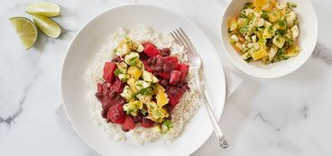 368 173 d476 3c8a vegan brazilian black beans and beets with coconut rice and tropical salsa hero