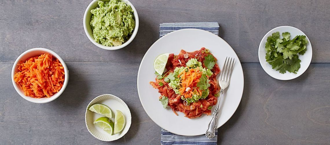 Chilaquiles with Edamame Guacamole and Pickled Carrots