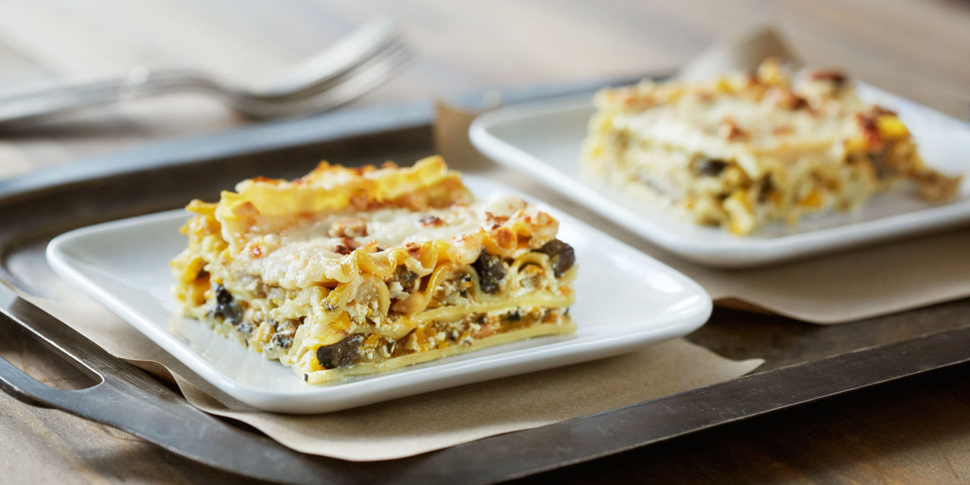 Butternut Squash with Wild Mushroom Lasagna
