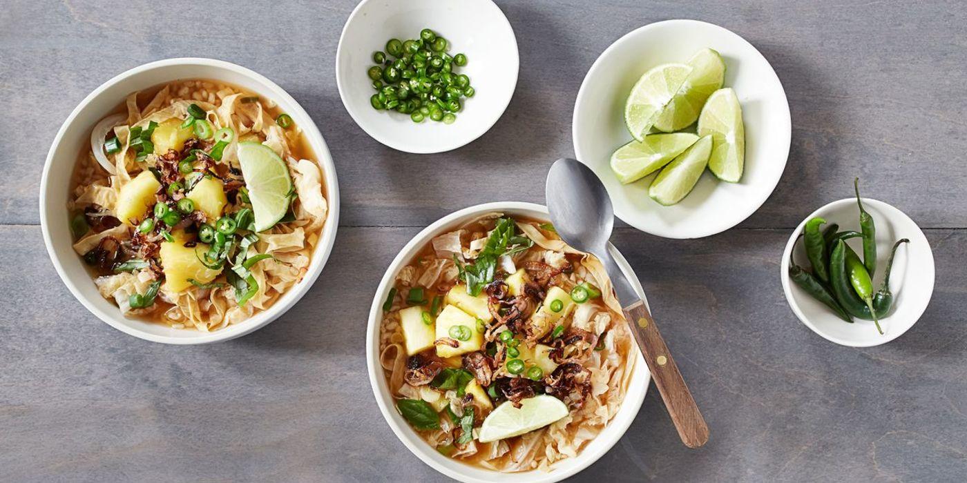 Vietnamese Soup with Yuba, Fresh Pineapple, and Crisp Shallots