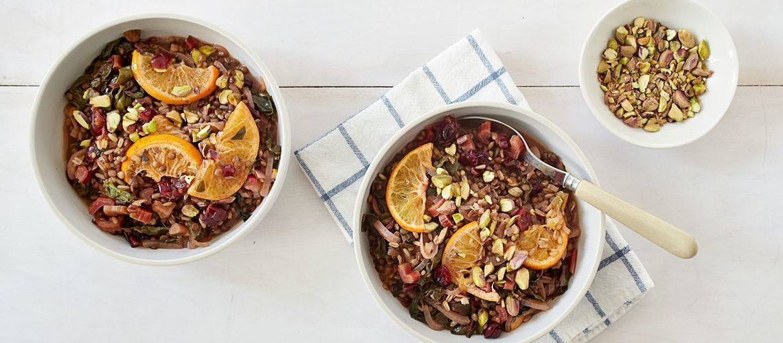 Spiced Citrus Lentils with Rainbow Chard and Cranberries