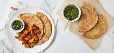 368 173 dcd5 f144 vegan kabocha apple shawarma with flaky yemeni pancakes and cilantro parsley zhoug hero