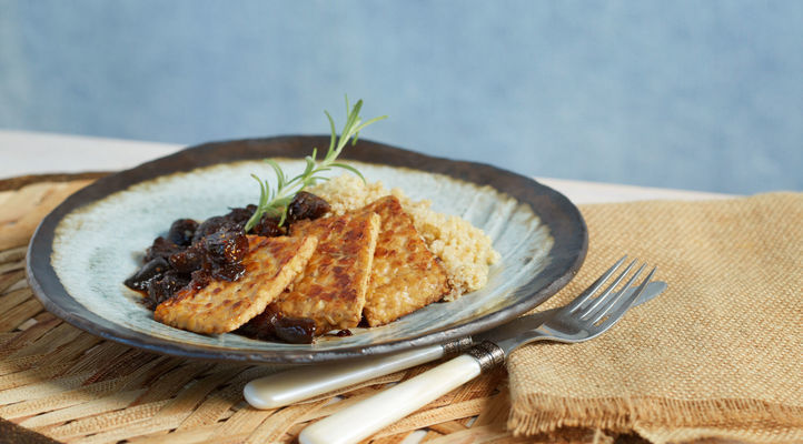 Seared Tempeh with Rosemary Fig Sauce