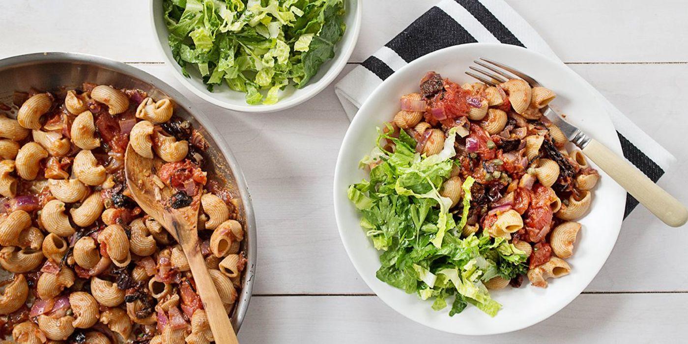 Pasta Puttanesca with Herb Salad
